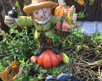 Miniature Scarecrow on Pumpkin, Miniature Fairy Garden Scarecrow, Dollhouse Scarecrow, Halloween Scarecrow