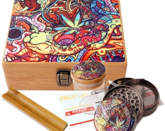 "Large Size Stash Box, 2.5"" Zinc Alloy Grinder,  Stash Jar, 6"" Rolling Tray - ALL IN ONE Box Package Psychedelic Leaf Design # LBCS020818-2"