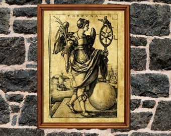 Goddess Fortune print, wheel of fortune, sacred print, rebirth symbolism, Ancient art, occult, tarot, medieval, magick, esoteric home decor