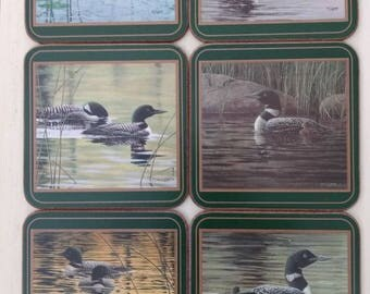 Set of 6 Pimpernel Cork Coasters with Duck theme. Made in England