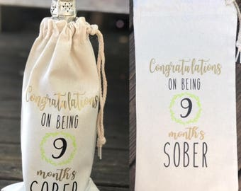 Wine Bottle Cover / Congratulations on being 9 months sober