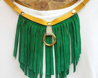 Emerald green suede leather fringe necklace choker office jewellery
