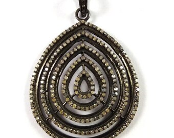 Tucson Show Sale 50% 1 Piece Pave Diamond  Pendant  925 Sterling Silver  Antique Finish Pendant 925 Sterling  51 mm X 35 mm #Gsd023