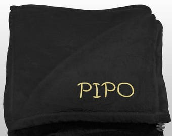 Personalized Multi-use Polar Sofa Bed Travel Fleece Blanket with Name - Ref. Dulcelina - Black