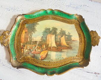 Florentine tray tray vintage Italian