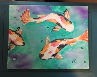 Koi Fish Painting-Acrylic on Canvas-Signed