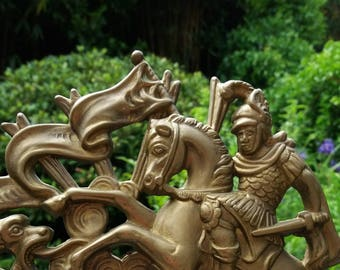 Antique Bronze Photo Frame, St George and the Dragon