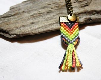 Necklace * ethnic * shades of orange and green