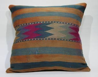 Geometric Kilim Pillow 20x20 Kilim Pillow,Decorative Pillow,Vintage Kilim Pillow,Throw Pillows,Bohemian Pillows Floor Cushion Cover 1221