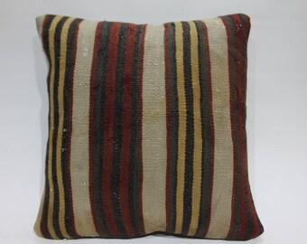 Turkish Kilim Pillow 18x18 Turkish kilim pillow cover 18x18 striped kilim pillow cushion cover flat woven Turkish kilim pillow 1438