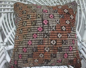 18x18 kilim embroidery 18x18 pillow covers boho cushion cover embroidered 18x18 zippered bedding euro pillow case knit pillow aztèque 1856