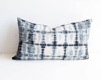 "Cream Tie Dye Stripe Pillow Cover | 14""x24"""