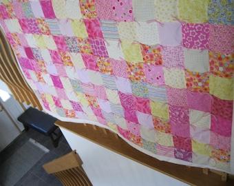 Handmade Tied XL Cotton Throw Quilt Blanket