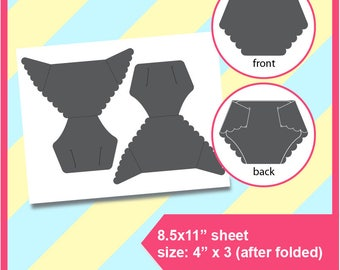 "Diaper Card Template, PSD, Dxf, PNG and SVG Formats,  8.5x11"" sheet,  Printable 188"