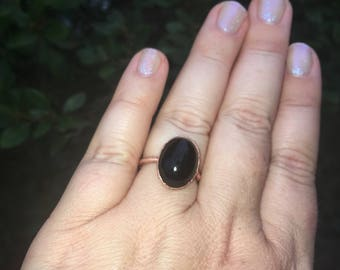 Black Onyx Copper Ring