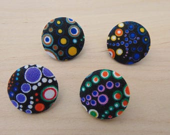 4 x buttons 19mm black round multicolored TOUR12 fabric