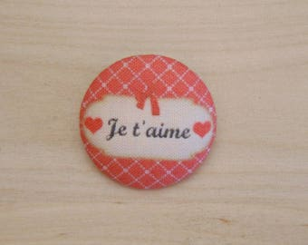 x 1 19mm fabric button I love you more A38