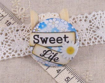 x 1 38mm button sweet life ref A14 fabric