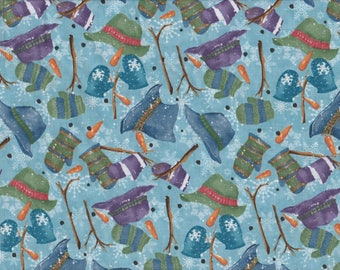 Creature Comforts - Per Yd - Clothworks - Barb Tourtillotte - Hats Mittens on Dk Blue