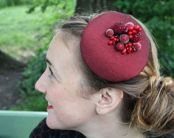 Fascinator red taffeta with various berries