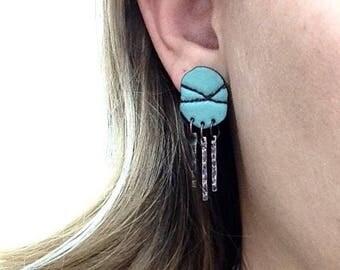 Turquoise Stud Copper Tassel Earrings