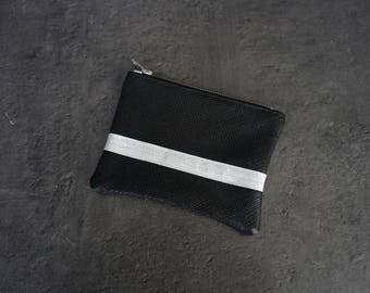Silver fabric and black lizard grain genuine leather wallet