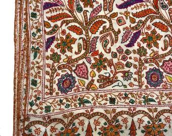 Papier Mache Hand Embroidered Pure Pashmina Shawl, Pure Cashmere Shawl, Hand Embroidery, Embroidered Kashmir Shawl, White Pashmina Wrap