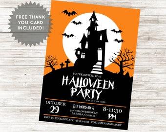 Haunted House Invite Invitation Halloween Digital 5x7 Personalized Costume Party