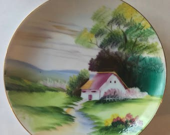 "Hand Painted 5"" Bone China Plate Made in Japan"