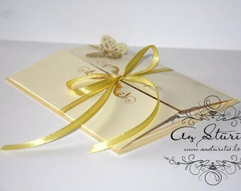 Gold wedding inviation with butterfly, Golden wedding invitation, Ivory wedding inviation