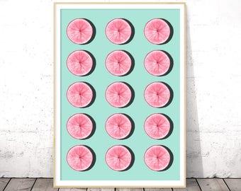 Unique Kitchen Art, Citrus Kitchen Decor, Printable Fruit Art, Citrus Prints, Pink Grapefruit, Kitchen Printable Decor, Instant Download
