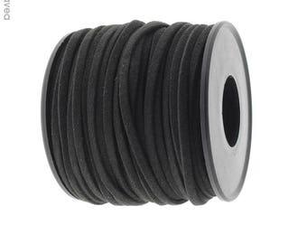 Set of 1 m cord flat leather Black 2.5 mm