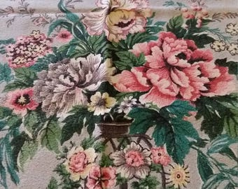 Vintage 40's Fabric Barkcloth Vintage 50's Textile Curtains Flower Bouquet  2 Panels Spectrum Original Raspberry Jade Green
