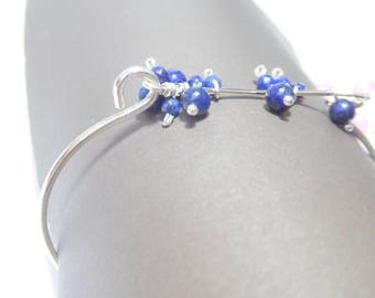 Lapis lazuli beads and silver bracelet