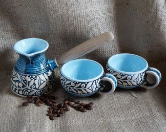 Gift-for-new-home-gift-for-wife-birthday-gift-Turkish-coffee-set-Coffee-pot-ceramic-and-two-mugs-Christmas-gifts-for-women-Presents-for-mom