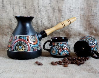 Stoneware coffee set with 2 small coffee cup Turkish coffee set Coffee service Kitchen gift|for|wife birthday gift|for|bride|to|be|gift kit