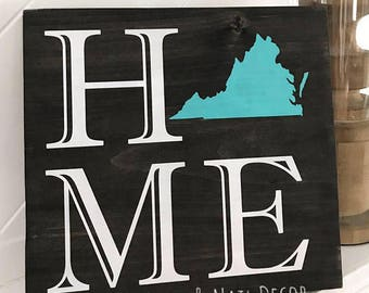 Home Virginia Wood Sign, State Wood Sign, Home Sign, Rustic Home Decor, State Sign, Home Decor, Wood Sign, Custom Wood Sign