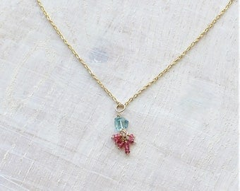 Aquamarine and pink spinel necklace, Aquamarine and spinel pendant, March birthstone, Aquamarine nugget necklace, gift for her