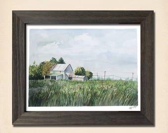 Ohio Barn (8x10 Instant Download Printable) Watercolor