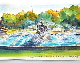"Original panoramic painting of Sea Horse fountain at Meyer circle, Kansas City, MO. 9""x24"" framed. Created at the rededication day."