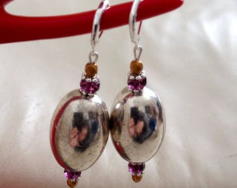 PEARL EARRINGS STUD EARRINGS, SILVER AND CZECH GLASS BEADS