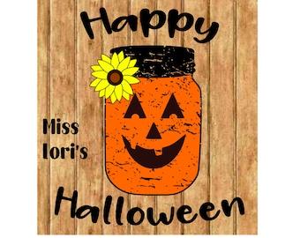 Mason Jar jack o lantern Happy Halloween sunflower  sign decal l Halloween SVG DFX Cut file  Cricut explore file