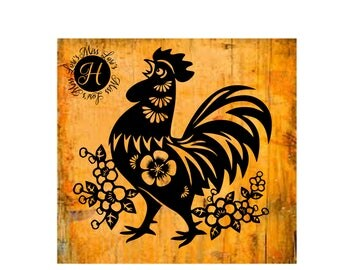 Folk art Rooster 2 decal   stencil SVG  dfx  cut file  t-shirts  animals scrapbook vinyl decal wood sign cricut cameo Commercial use