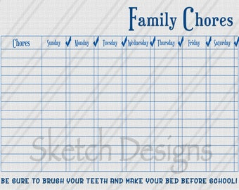 Simple Family Chore Chart - BLUE