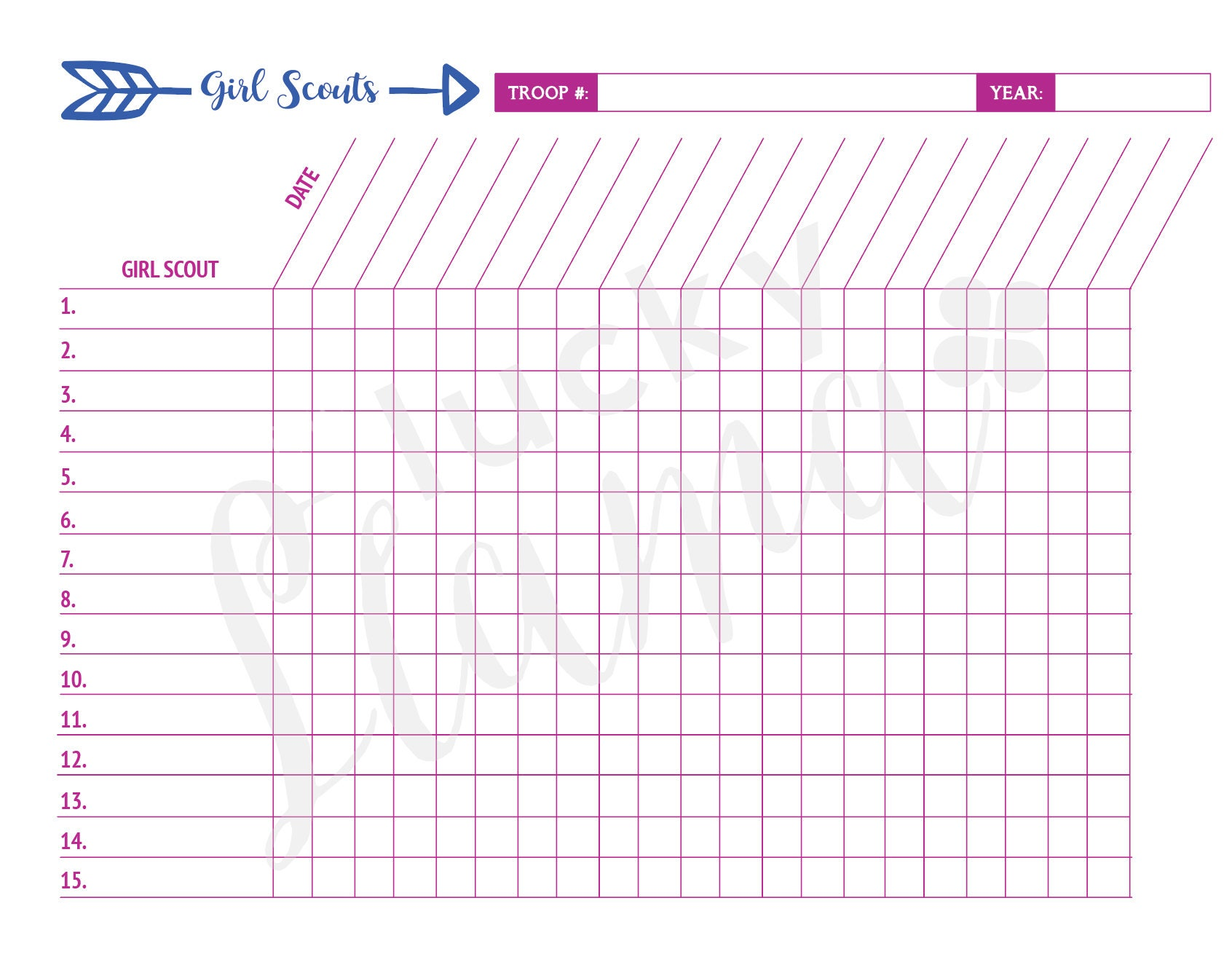 Printable girl scout attendance sheet for Girl scout order form template