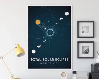 Solar Eclipse 2017 Memorabilia - Fine Art Print - Eclipse Stages - Eclipse Diagram - Total Solar Eclipse - Moon Sun Space Illustration