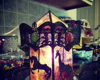 Stained Glass 3D Build Delightful Heirlooms Filigree Carousel Light