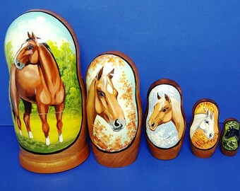 Vintage Wooden Matryoshka Russian Nesting Dolls - Set of Five Horses - Hand Painted