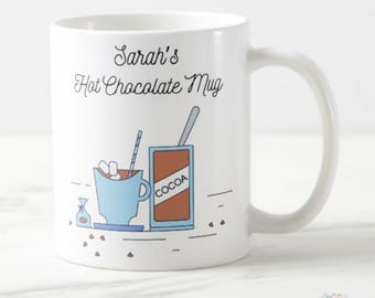 Chocolate Lover's Gift, Hot Chocolate Mug, Hot Chocolate Cup, Hot Chocolate Gift, Hot Chocolate Favors, Hot Chocolate Party Favors, Mugs