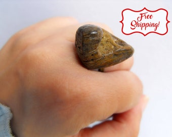 Bohemian stone ring organic stone rock ring beach wedding ring natural pebble jewelry earthy rings zen ring natural rock ring pebble ring